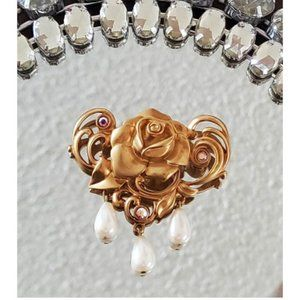 Avon Gold Rose and Pearl Brooch, Just Beautiful